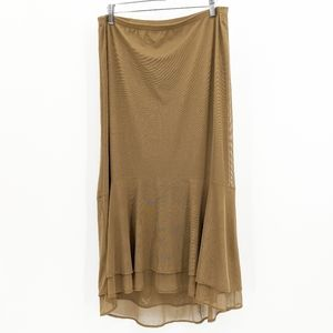 J. Jill Stretch Tiered Midi Skirt Gold Camel Lined